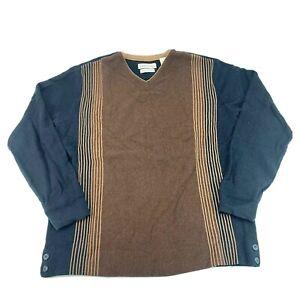 Tehama-Mens-Size-Medium-Brown-blue-Cotton-Cashmere-V-Neck-Sweater-Stripes-EUC
