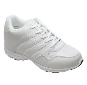 CALTO G8818 - 3.2 Inches Elevator Height Increase Mesh Sporty White Sneakers