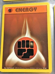 97-102-FIGHTING-ENERGY-ORIGINAL-1999-BASE-Pokemon-Card-NEVER-USED-PLAYED-NM-M
