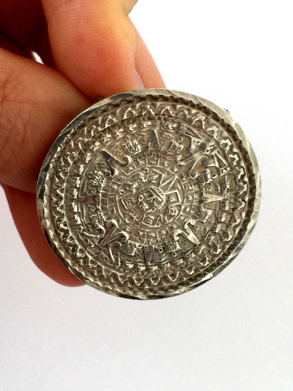 Vintage Pezza argentoo Sterling 925 Mexico Calendario Maya Azteco Azteco Azteco Spilla Ciondolo 488119