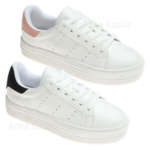 56cb8076735 Details about AnnaKastle Womens Lace Up Platform Fashion Sneaker White  Tennis Shoes
