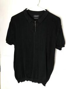 Zara-Man-1-4-Zip-Polo-Shirt-Collared-Black-Men-039-s-Size-L-42-100-Fine-Cotton