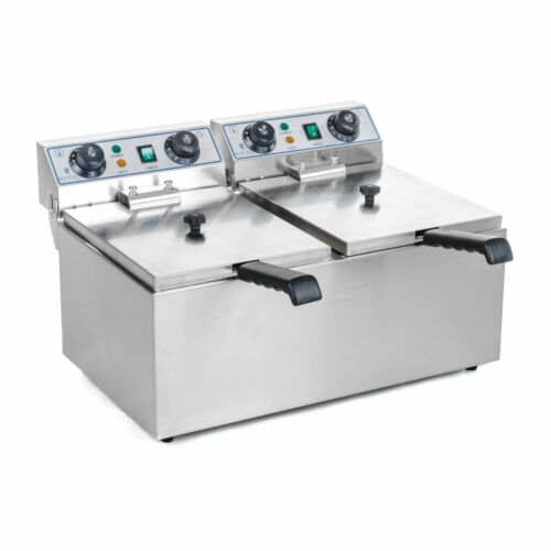 Fryer Stainless Steel Catering Double Fryer 2x 13 L Cold Zone 2x 3200w Timer