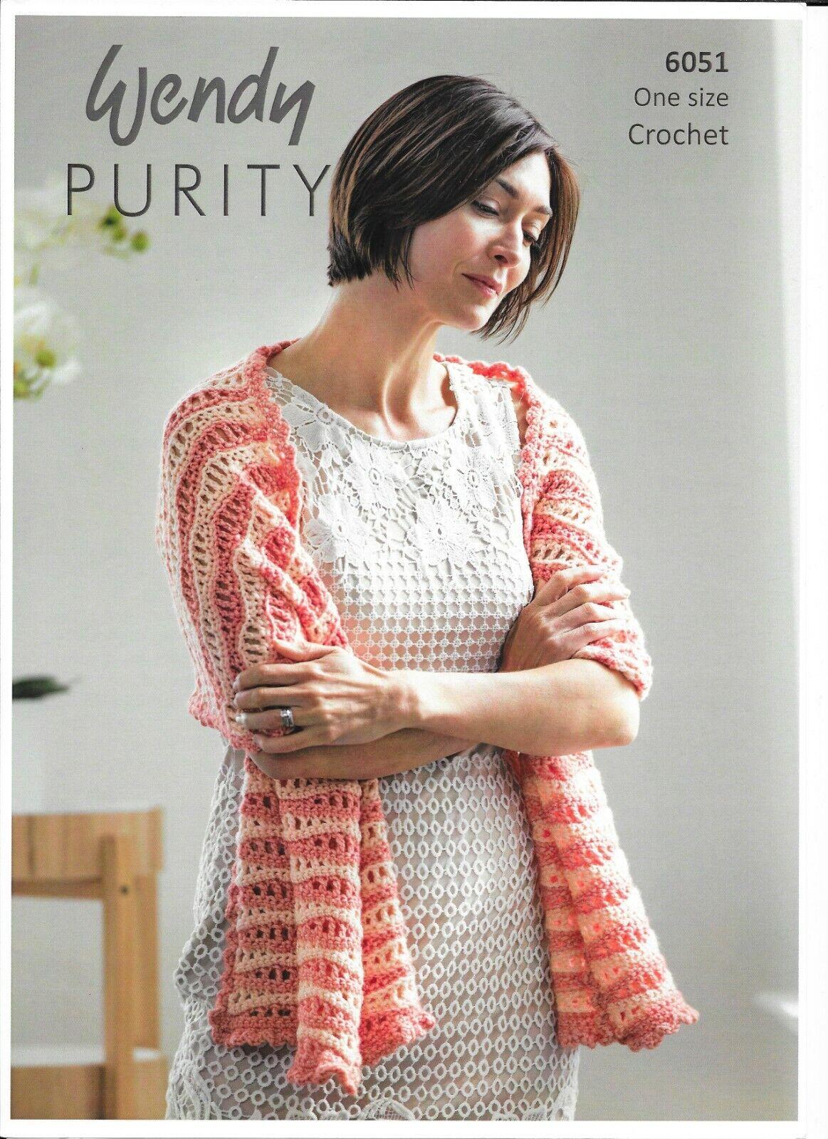 Wendy Double Knit Wave Shawl Crochet Pattern  6051