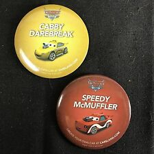 "Lot of 2 Disney Cars Land Pin Badge Buttons 3"" Speedy Cabby Radiator Springs"