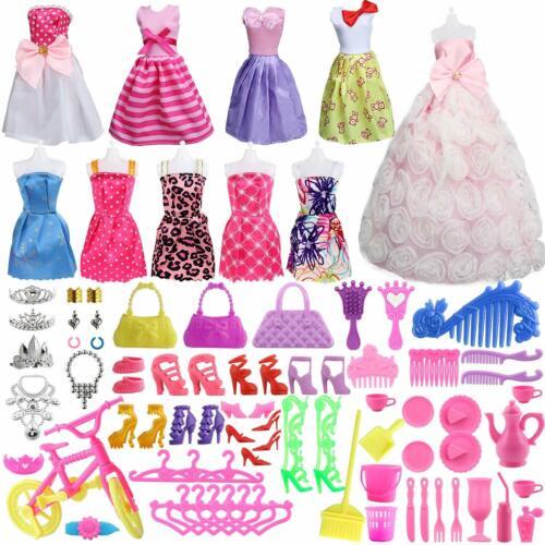 85 Pcs Barbie Doll Clothes Set 10 Pack Barbie Clothes Party 75 Pcs Accessories