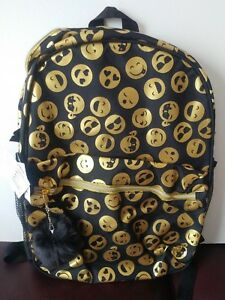 4610bfa283c2 The Children s Place Kids Girls Foil Emoji Face Print Backpack Black ...