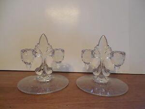 Vintage-Martinsville-Clear-Crystal-Candlestick-Candle-Holder-Pair-Florentine