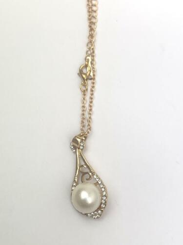 Mujeres Perla Diamante frontera Plata//Oro Colgante Collar Cadena Suéter Joyería Reino Unido