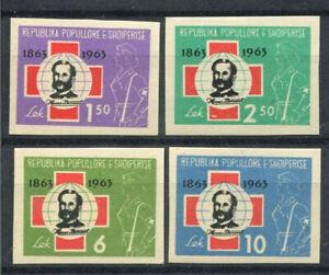 Albanien-1963-Mi-721-724-Postfrisch-100-geschnitten-Rotes-Kreuz