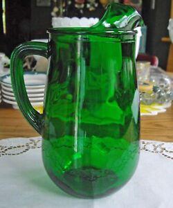 Vintage-GREEN-Glass-8-034-Pitcher
