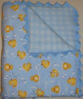Handmade Baby Boy Quilt - Baby Ducks Design Blue Yellow