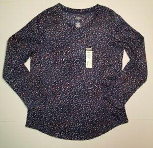 St-Johns-Bay-Active-Womens-Navy-Dot-Long-Sleeve-Fleece-Pullover-Shirt-Top-S-NWT