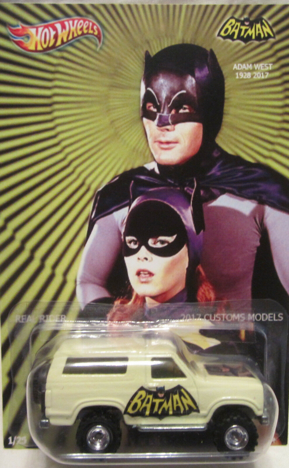 Hot Wheels CUSTOM '85 FORD BRONCO Batman-Adam West Tribute Real Riders 1 25 Made