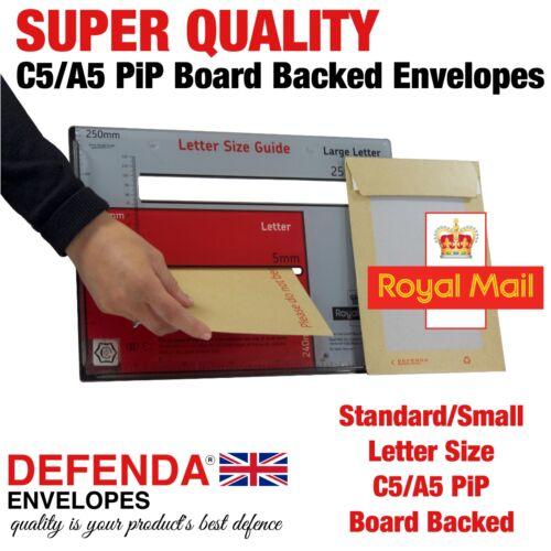 125 A5 C5 Pip taglia forte TRE BUSTE bordo posteriore rigido carta sostenuta Mailer