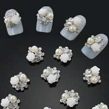 Beauty 10pcs 3D Alloy Jewelry Nail Art Decoration White Rose Glitter Rhinestone