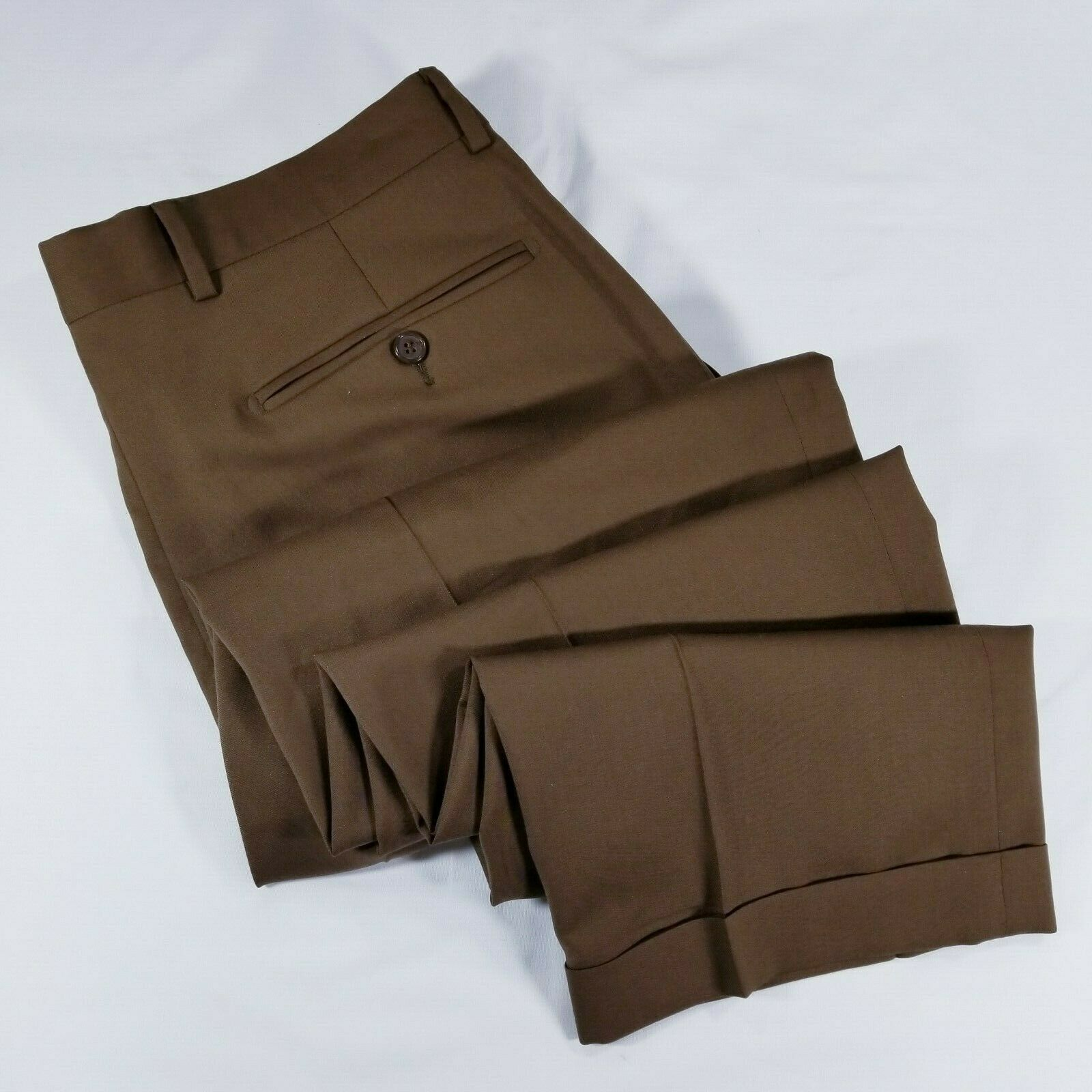 Pazoni Brown tobacco wool dress pants cuffed COMO2 1800 W33 made in ITALY