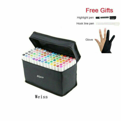 80 Farben Marker Set Twin Sketch Painting Handschuhe Art Filzstift Folienstift