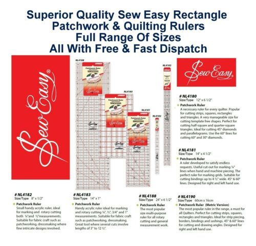 Sew Easy Rectangle Patchwork Ruler Measure Quilter Craft Home All Sizes /& Styles