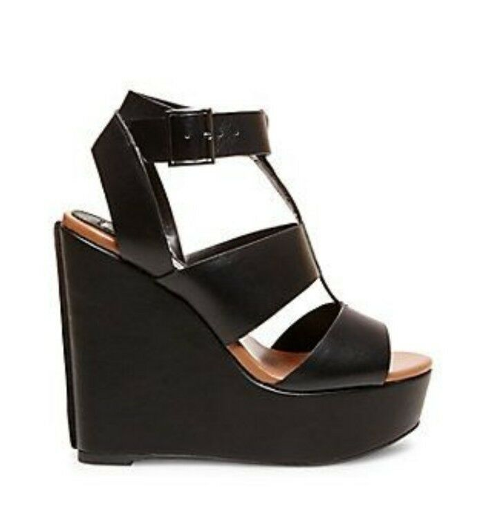 Steve Madden Black Black Black Leather Wedge Sandals 5b3a6c