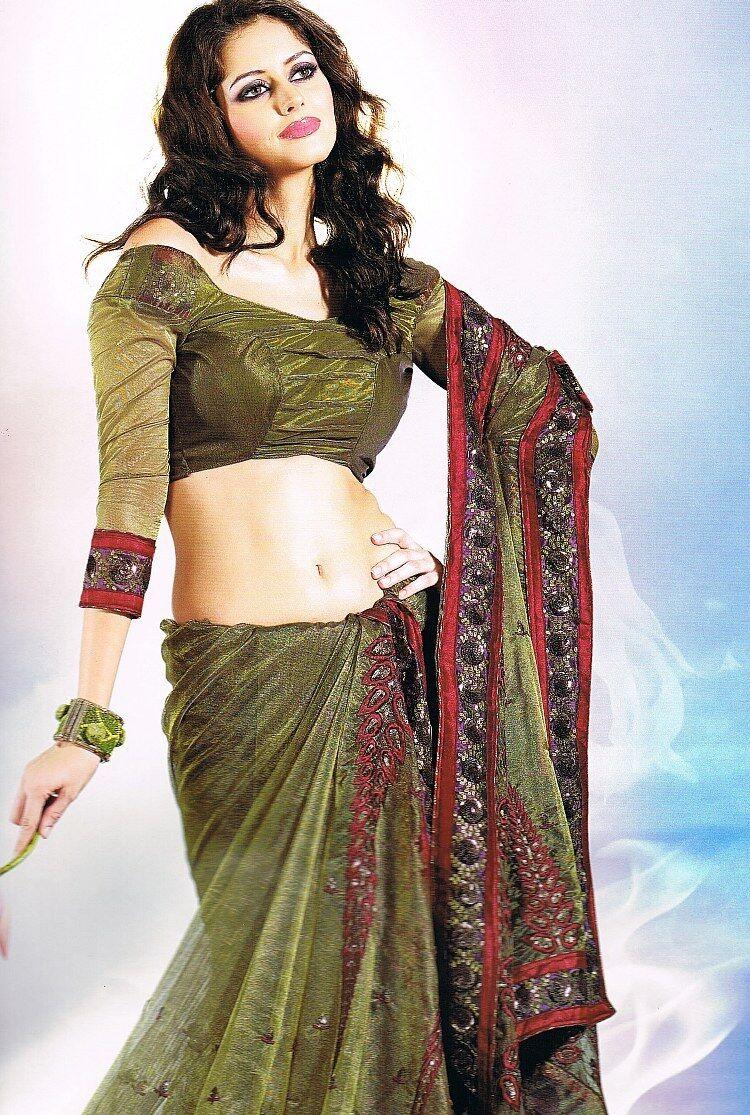 Green Designer Trendy Saree Women Dress Elegant Latest Fashion Indian Sari