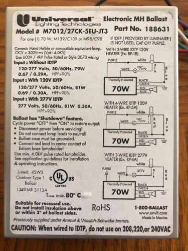 Universal Lighting Technologies M5012//27CK-5EU-JT3 Electronic MH Ballast