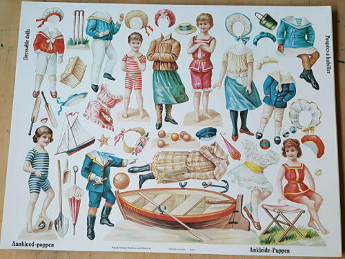 1 alten Bogen Ausschneide  Ankleidepuppen x97