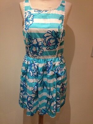 $188 New Lilly Pulitzer Shorely Blue Tossing The Line Sandrine Dress 10 NWT