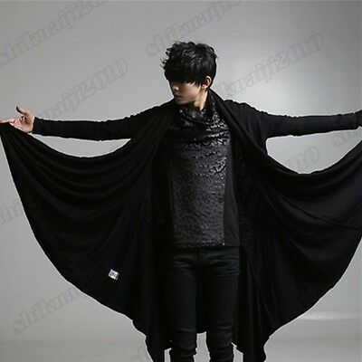 Men's Gothic Punk Black Basic Cardigan Stylish Coat Outwear Fashion One Size