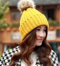 Braided Crochet Wool Knit Beanie Beret Ski Ball Cap Baggy Womens Winter Warm Hat
