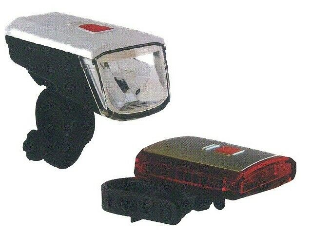 Fahrrad LED Batterie Leuchten Lampen Set bis 40 Lux mit USB-Ladegerät