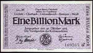 CREFELD et  al  1923 1 Trillion Mark Series M Hyperinflation