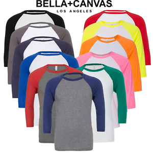 Donna-Uomo-Raglan-T-shirt-3-4-Sleeve-Tee-Baseball-Top-Casual-al-neon-XS-2XL-OFFERTA