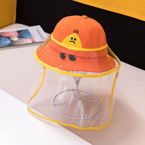 Kids UV Protective Bucket Hat Boys Girls Sun Cap w// Removable Anti-saliva Cover