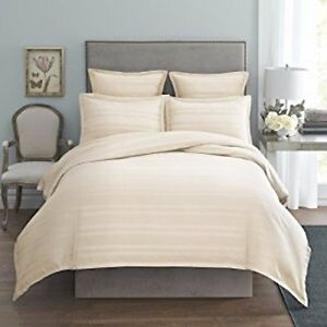 MODERN-LIVING-Arezzo-Damask-Stripe-TWIN-DUVET-COVER-Ivory-Cotton-NWT