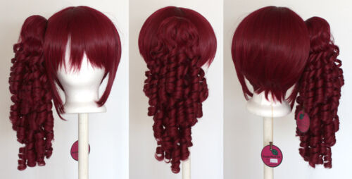 Base Burgundy Red Cosplay Lolita Wig NEW 18/'/' Ringlet Curly Pony Tail