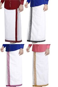 Men-039-s-White-Dhoti-3-6-Meter-Cotton-With-Border-Indian-Ethnic-Traditional-Dhoti