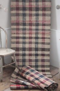 Vintage European rag rug carpet stair runner 10.8 yds by 29.5 in farmhouse rug