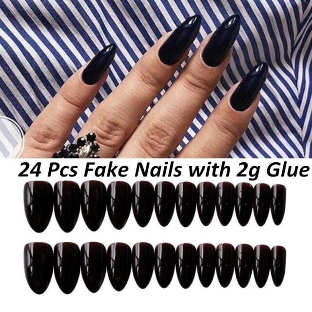 24pcs Artificial Black Nail Art Full Cover Oval Stiletto False Fake Nails Tips