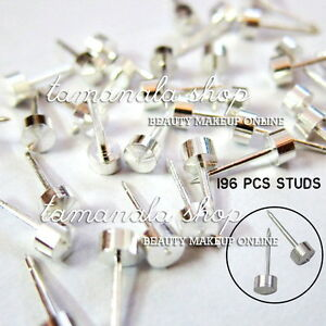 98-Pairs-Stainless-Steel-Studs-Earrings-Ear-Body-Ring-For-Piercing-Gun-Silver