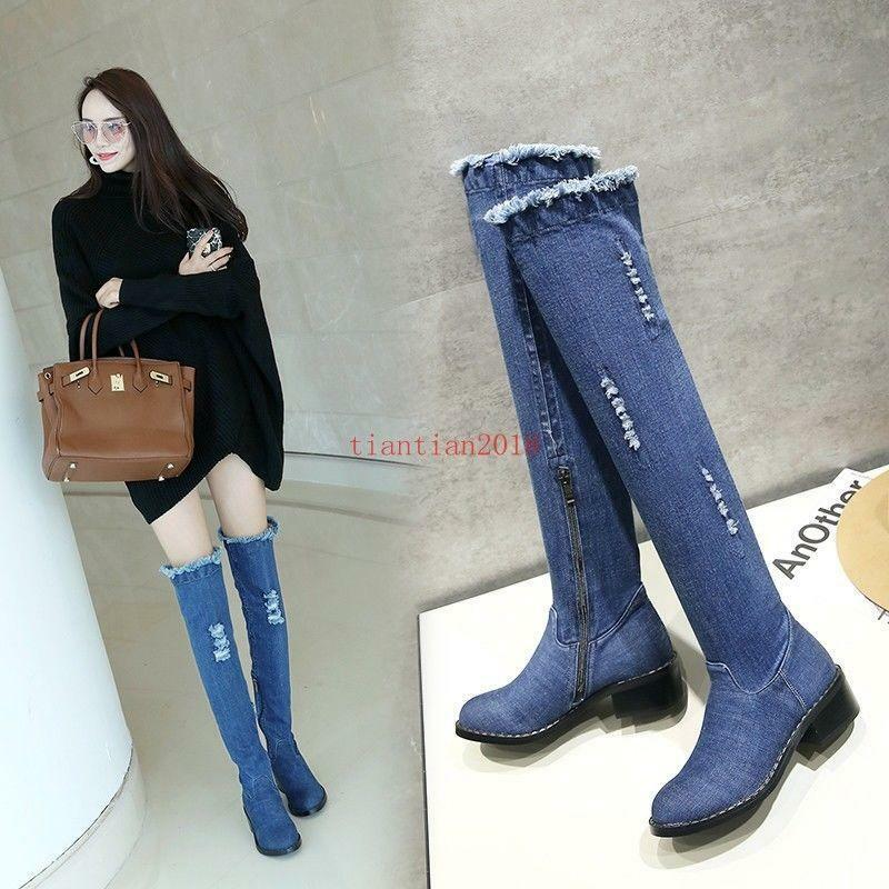 Womens Denim Ripped Hole Zip Riding Chunky Low Heel shoes Over Knee High Boots