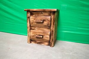 Torched-Log-Nightstand-2-Drawers-369-Dovetail-Drawers-Finished-Free-Shipping