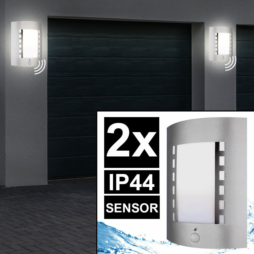 2er Conjunto de Iluminación Exterior Parojo Lámpara Jardín Parque Sensor De Luz De Acero Inoxidable IP44