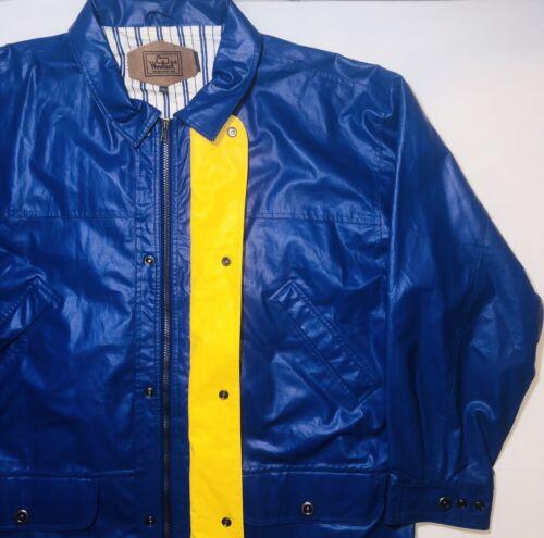 VTG Woolrich 90s Mens XL Rain Coat Jacket Pvc Blue