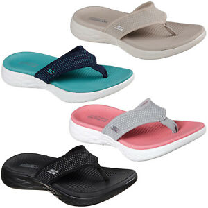 Details about Skechers On The Go 600 Flip Flops Womens Memory Foam Summer  Sandals Toe Post