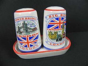 Londres sel & poivre épandeur Tower Bridge, Big Ben, etc., Angleterre Salt & Pepper  </span>