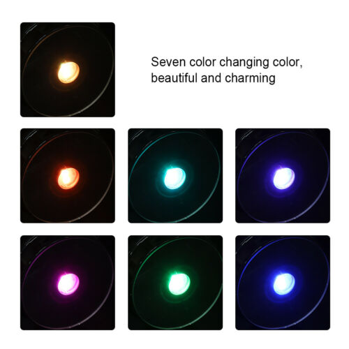 7-LED Colorful Light Round Crystal Display Base Stand Holder Xmas Party Decor
