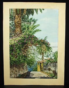 Jose-Maria-Montaldo-Drawing-Watercolour-Original-c1900-Spain-Espana-La-Sea