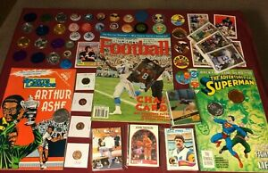 Junk-Drawer-Lot-Collectibles-Steve-Young-Superman-Arthur-Ashe-Misc-10-16-3P