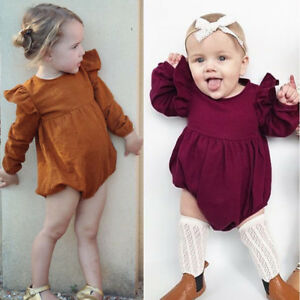 5a913b506673 Image is loading Baby-Toddler-Girls-Clothes-Outfit-Long-Sleeve-Romper-